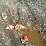 Resturi de la McDonalds pe marginea soselei
